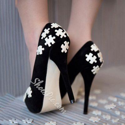 Shoespie Elegant Soft Jigsaw Embellished Platform Heels
