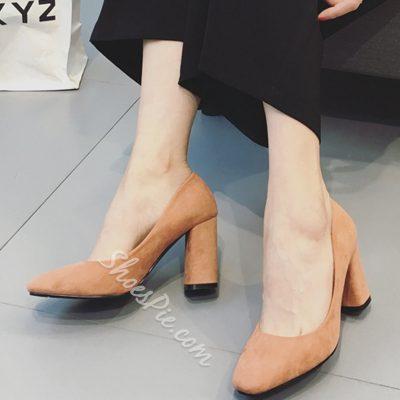 Shoespie Elegant Solid Color Block Heel Pumps