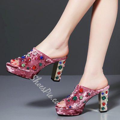 Shoespie Elegant Velvet Multi Color Rhinestone Heel Mules