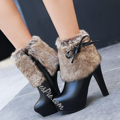 Shoespie Furry Knot Platform High Heel Boots