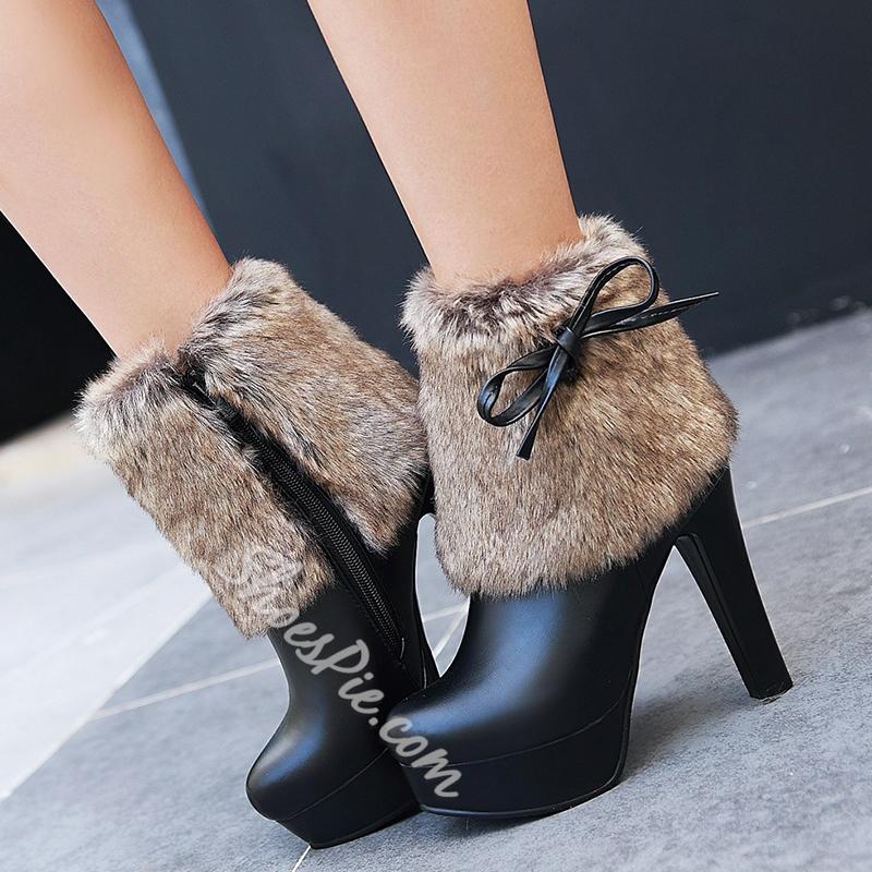 Shoespie Furry Knot Platform High Heel Boots