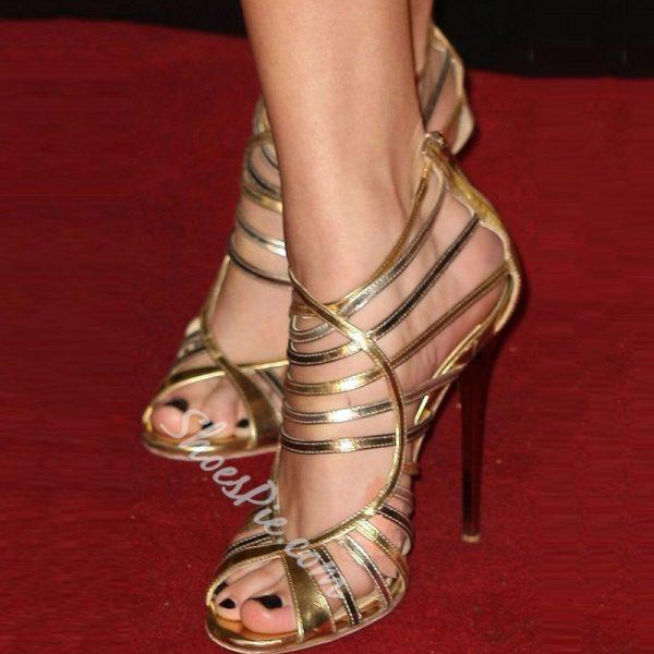 Shoespie Golden Cut-out Zipper Dress Sandals