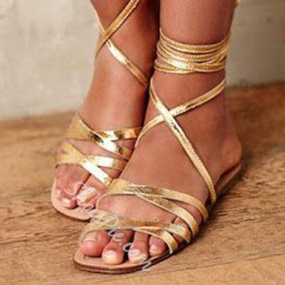 Shoespie Golden Wrap Up Flat Gladiator Sandals