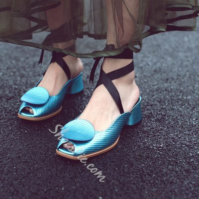 Shoespie Gorgeous Candy Color Ribbon Lace Up Low Heels
