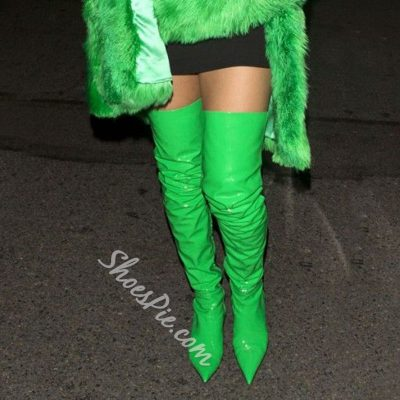 Shoespie Greenery Celebrity Kitten Heel Over the Knee Boots