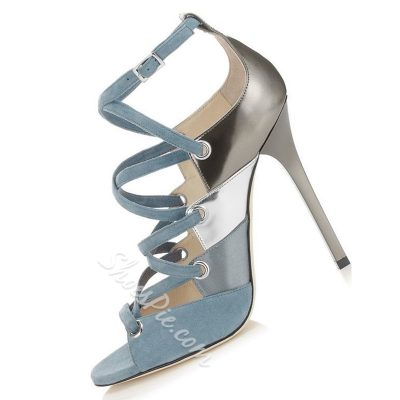 Shoespie Light Blue Color Patchwork Sandals
