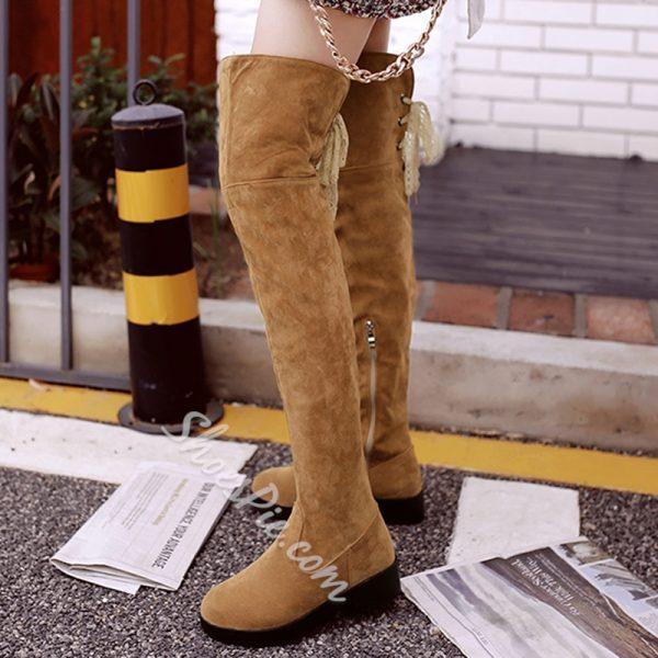 Shoespie Nubuck Back Tie Knee High Boots