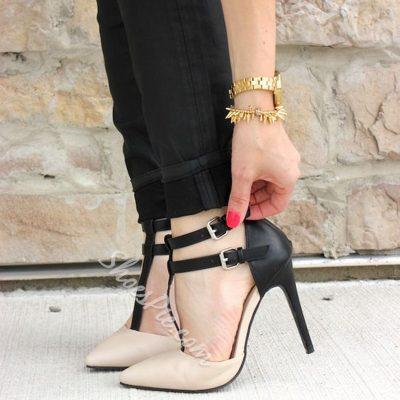 Shoespie Nude Double T Strap Stiletto Heels