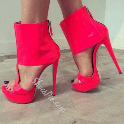 Shoespie Platform Zipper Stiletto Heel Sandals