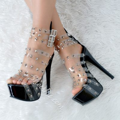 Shoespie Rivet Transparency Platform Sandals