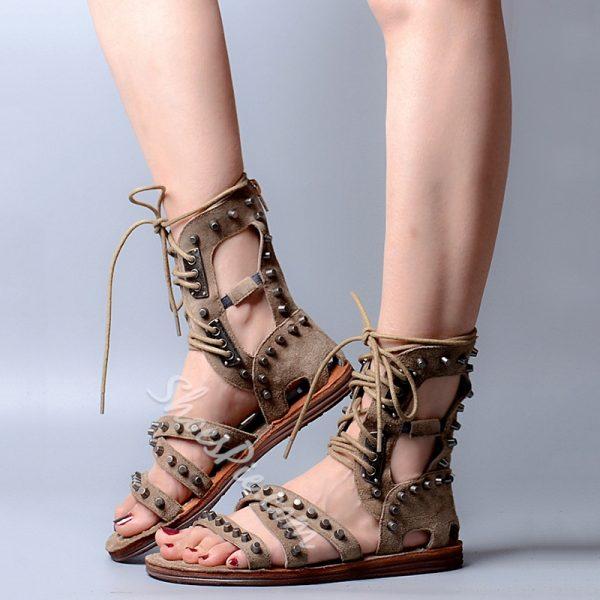 Shoespie Rivets Cut Outs Lace Up Flat Roman Sandals