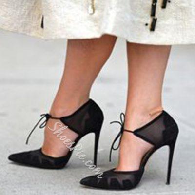 Shoespie Sexy Black Mesh Ankle Tie Stiletto Heels