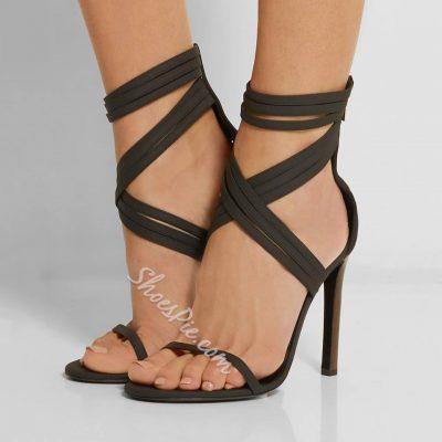 Shoespie Sexy Black Strap Stiletto Sandals
