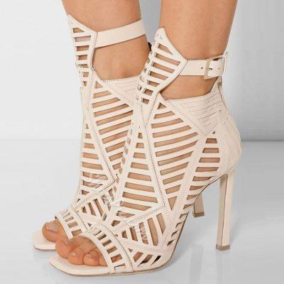 Shoespie Sexy Cut-out Buckle Zipper Stiletto Sandals