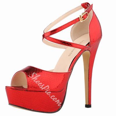 Shoespie Shine Leather Cross Wrap Platform Heels