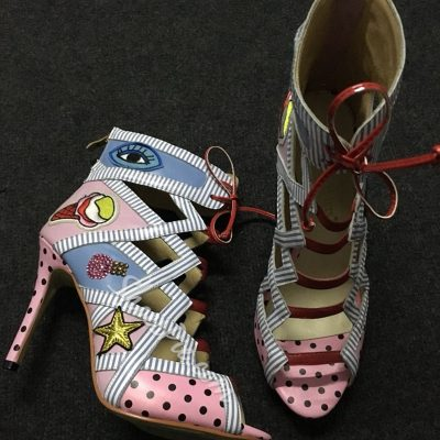 Shoespie Smart Funny Print Cut Out Cage Summer Booties