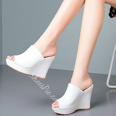 Shoespie Solid Color All-match Wedge Mules Shoes