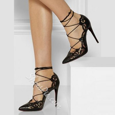 Shoespie Solid Cut Out Lace Up Stiletto Heels