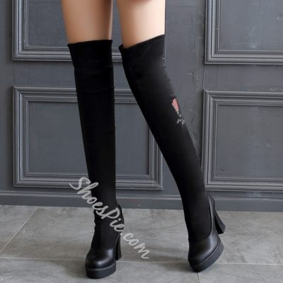 Shoespie Streth Floral Embroidered Thigh High Boots