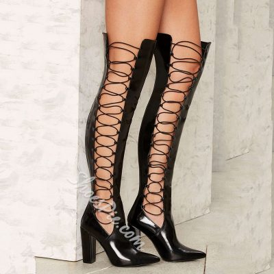 Shoespie Stylish Shine Black Side Lace Up Chunky Heel Knee High Boots