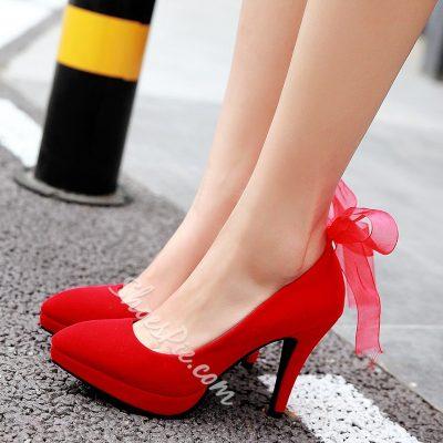 Shoespie Swwet Solid Color Ribbon Back Platform Heels
