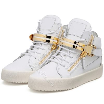 Shoespie White Metal Buckles Mens Fashion Sneakers