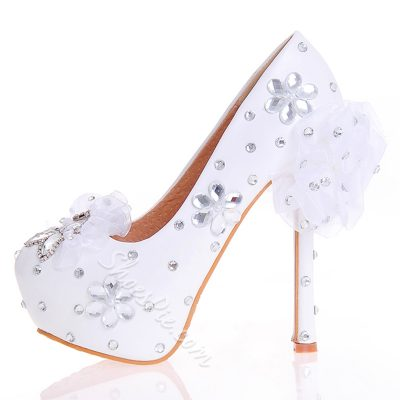 Shoespie White Rhinestone Platform Bridal Shoes