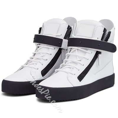 Shoespie White and Black Mens Sneakers