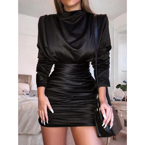 Above Knee Pleated Long Sleeve Zipper Womens Bodycon Dress