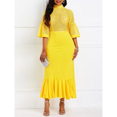 Half Sleeve Mid-Calf Falbala Fall Womens Bodycon Dress