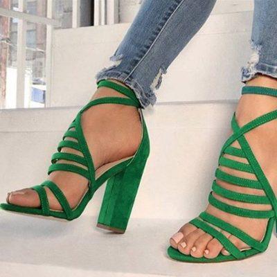 Shoespie Chunky Heel Buckle Green Sandals