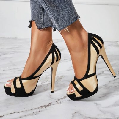 Shoespie Silky Peep Toe Platform Heel Sandals