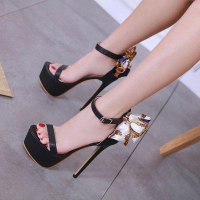 Shoespie Stiletto Heel Heel Bowknot Buckle Platform Sandals