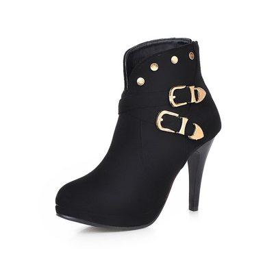 Shoespie Stylish Side Zipper Buckle Stiletto Heel Ankle Boots