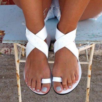 Shoespie White Ankle Wrap Clip Toe Flat Sandals