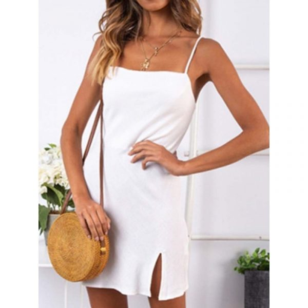 Above Knee Split Sleeveless Casual Womens Casual Dress