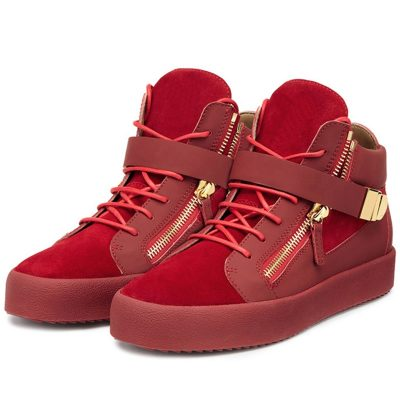 Shoespie Red Suede Mens Fashion Sneakers