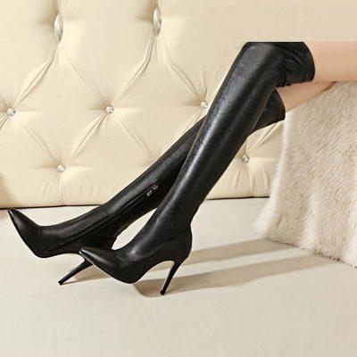 Shoespie Side Zipper Stiletto Heel Boots Knee High Boots