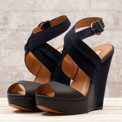 Shoespie Simple Coppy Leather Cut-Outs Wedge Sandals