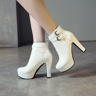 Shoespie Chunky Heel Zipper Platform Ankle Boots