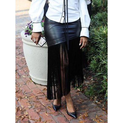 Tassel Plain Mid-Calf Fashion Womens Skirt