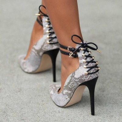 Shoespie Print Buckle Pointed Toe High Heels Fashion 4 Shoes