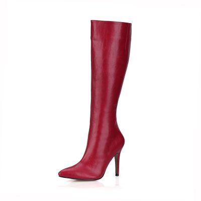 Shoespie Side Zipper Pointed Toe Stiletto Heel Knee High Boots