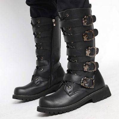 Shoespie Side Zipper Round Toe Plain Mens Boots