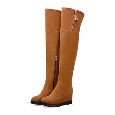 Shoespie Trendy Plain Wedge Heel Side Zipper Zipper Boots