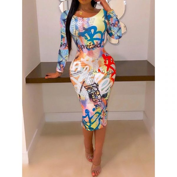 Casual Letter Print Round Neck Nine Points Sleeve Womens Dress
