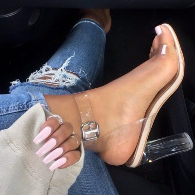 Shoespie Sexy Buckle Peep Toe Simple PVC Sandals