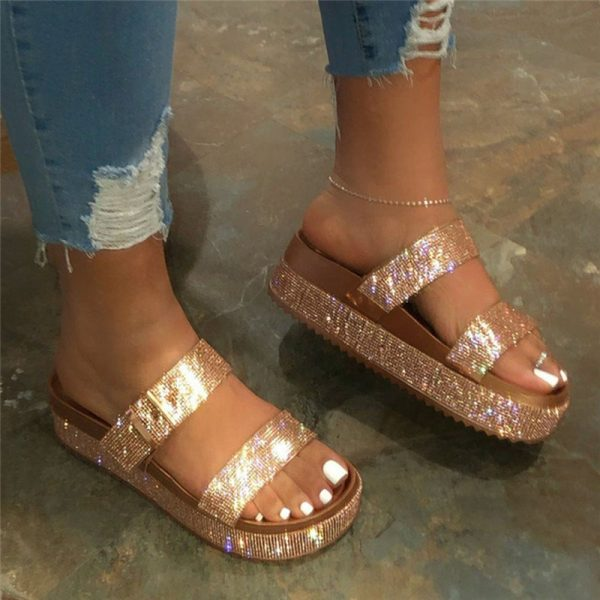 Shoespie Stylish Flip Flop Rhinestone Slip-On Casual Slippers