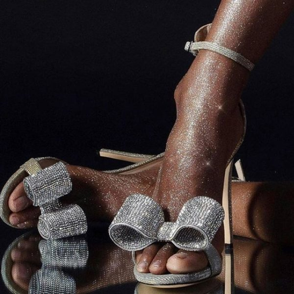 Shoespie Trendy Silver Stiletto Heel Heel Covering Open Toe Dress Sandals