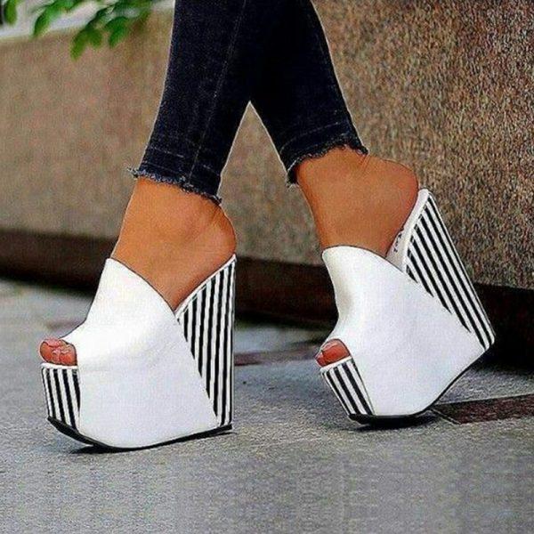 Shoespie White Platform Stripe Peep Toe Wedge Heels